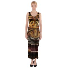 Tiger Face Fitted Maxi Dress