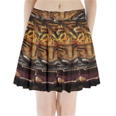 Tiger Face Pleated Mini Skirt