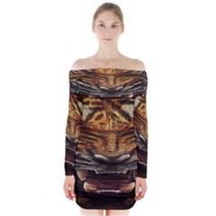 Tiger Face Long Sleeve Off Shoulder Dress