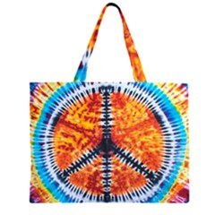 Tie Dye Peace Sign Large Tote Bag