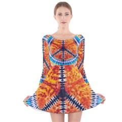 Tie Dye Peace Sign Long Sleeve Velvet Skater Dress