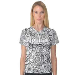 These Flowers Need Colour! Women s V-Neck Sport Mesh Tee
