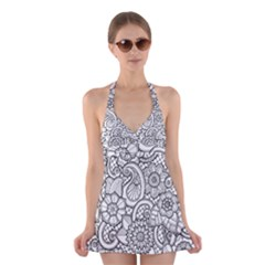 These Flowers Need Colour! Halter Swimsuit Dress