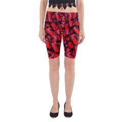The Red Butterflies Sticking Together In The Nature Yoga Cropped Leggings
