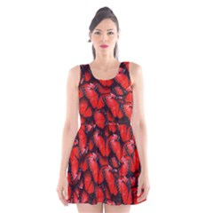 The Red Butterflies Sticking Together In The Nature Scoop Neck Skater Dress