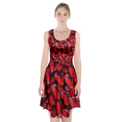 The Red Butterflies Sticking Together In The Nature Racerback Midi Dress