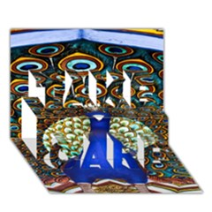 The Peacock Pattern TAKE CARE 3D Greeting Card (7x5)