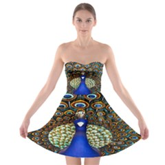 The Peacock Pattern Strapless Bra Top Dress