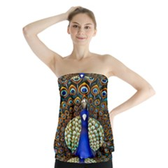 The Peacock Pattern Strapless Top