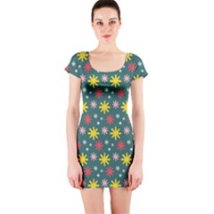 The Gift Wrap Patterns Short Sleeve Bodycon Dress
