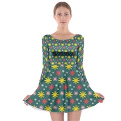 The Gift Wrap Patterns Long Sleeve Skater Dress