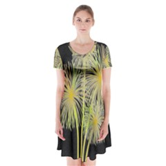 Dandelions Short Sleeve V-neck Flare Dress