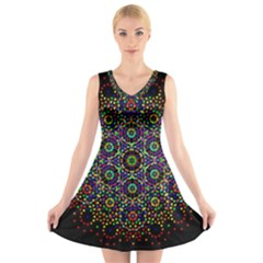 The Flower Of Life V-Neck Sleeveless Skater Dress