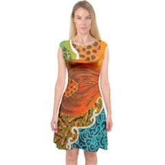 The Beautiful Of Art Indonesian Batik Pattern Capsleeve Midi Dress