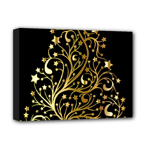 Decorative Starry Christmas Tree Black Gold Elegant Stylish Chic Golden Stars Deluxe Canvas 16  x 12
