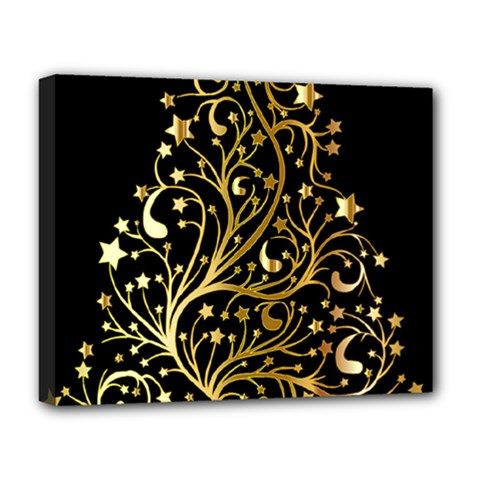 Decorative Starry Christmas Tree Black Gold Elegant Stylish Chic Golden Stars Deluxe Canvas 20  x 16