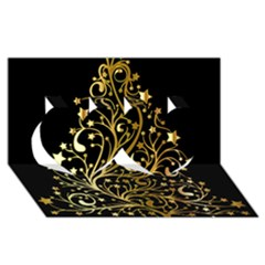 Decorative Starry Christmas Tree Black Gold Elegant Stylish Chic Golden Stars Twin Hearts 3D Greeting Card (8x4)