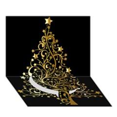 Decorative Starry Christmas Tree Black Gold Elegant Stylish Chic Golden Stars Circle Bottom 3D Greeting Card (7x5)