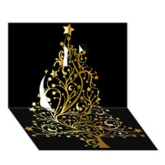 Decorative Starry Christmas Tree Black Gold Elegant Stylish Chic Golden Stars Apple 3D Greeting Card (7x5)