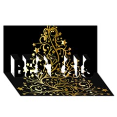 Decorative Starry Christmas Tree Black Gold Elegant Stylish Chic Golden Stars BEST SIS 3D Greeting Card (8x4)