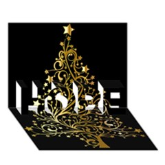 Decorative Starry Christmas Tree Black Gold Elegant Stylish Chic Golden Stars HOPE 3D Greeting Card (7x5)