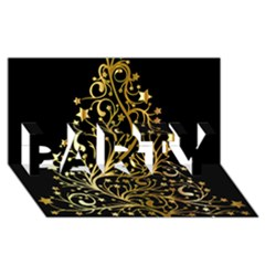 Decorative Starry Christmas Tree Black Gold Elegant Stylish Chic Golden Stars PARTY 3D Greeting Card (8x4)