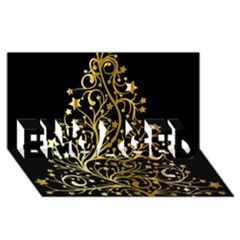 Decorative Starry Christmas Tree Black Gold Elegant Stylish Chic Golden Stars ENGAGED 3D Greeting Card (8x4)