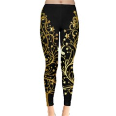 Decorative Starry Christmas Tree Black Gold Elegant Stylish Chic Golden Stars Leggings