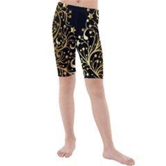Decorative Starry Christmas Tree Black Gold Elegant Stylish Chic Golden Stars Kids  Mid Length Swim Shorts