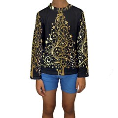 Decorative Starry Christmas Tree Black Gold Elegant Stylish Chic Golden Stars Kids  Long Sleeve Swimwear