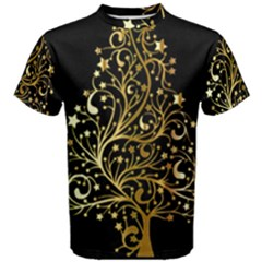 Decorative Starry Christmas Tree Black Gold Elegant Stylish Chic Golden Stars Men s Cotton Tee
