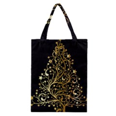 Decorative Starry Christmas Tree Black Gold Elegant Stylish Chic Golden Stars Classic Tote Bag