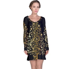 Decorative Starry Christmas Tree Black Gold Elegant Stylish Chic Golden Stars Long Sleeve Nightdress