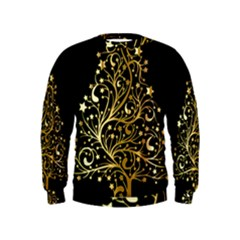 Decorative Starry Christmas Tree Black Gold Elegant Stylish Chic Golden Stars Kids  Sweatshirt