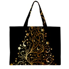 Decorative Starry Christmas Tree Black Gold Elegant Stylish Chic Golden Stars Zipper Mini Tote Bag