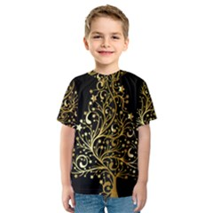Decorative Starry Christmas Tree Black Gold Elegant Stylish Chic Golden Stars Kids  Sport Mesh Tee