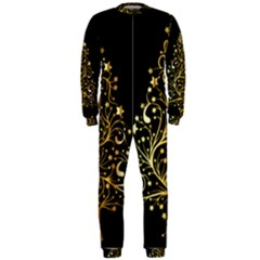 Decorative Starry Christmas Tree Black Gold Elegant Stylish Chic Golden Stars OnePiece Jumpsuit (Men)