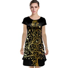 Decorative Starry Christmas Tree Black Gold Elegant Stylish Chic Golden Stars Cap Sleeve Nightdress