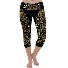 Decorative Starry Christmas Tree Black Gold Elegant Stylish Chic Golden Stars Capri Yoga Leggings