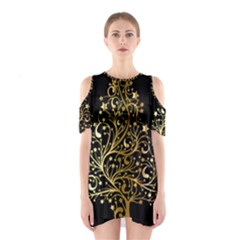 Decorative Starry Christmas Tree Black Gold Elegant Stylish Chic Golden Stars Cutout Shoulder Dress