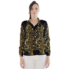 Decorative Starry Christmas Tree Black Gold Elegant Stylish Chic Golden Stars Wind Breaker (Women)