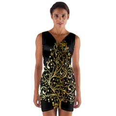 Decorative Starry Christmas Tree Black Gold Elegant Stylish Chic Golden Stars Wrap Front Bodycon Dress