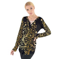Decorative Starry Christmas Tree Black Gold Elegant Stylish Chic Golden Stars Women s Tie Up Tee