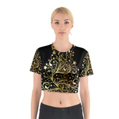 Decorative Starry Christmas Tree Black Gold Elegant Stylish Chic Golden Stars Cotton Crop Top