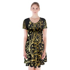 Decorative Starry Christmas Tree Black Gold Elegant Stylish Chic Golden Stars Short Sleeve V-neck Flare Dress