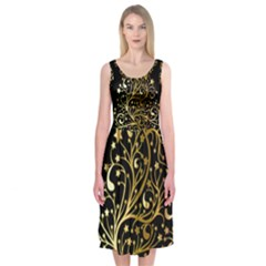 Decorative Starry Christmas Tree Black Gold Elegant Stylish Chic Golden Stars Midi Sleeveless Dress