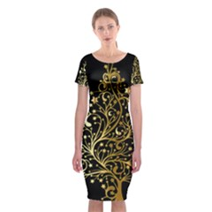 Decorative Starry Christmas Tree Black Gold Elegant Stylish Chic Golden Stars Classic Short Sleeve Midi Dress