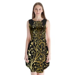 Decorative Starry Christmas Tree Black Gold Elegant Stylish Chic Golden Stars Sleeveless Chiffon Dress