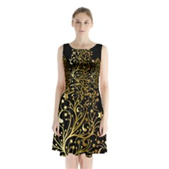 Decorative Starry Christmas Tree Black Gold Elegant Stylish Chic Golden Stars Sleeveless Chiffon Waist Tie Dress