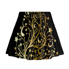 Decorative Starry Christmas Tree Black Gold Elegant Stylish Chic Golden Stars Mini Flare Skirt